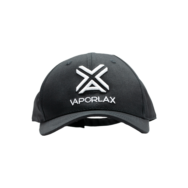 An adjustable black hat from VaporLax, embroidered with their Logo