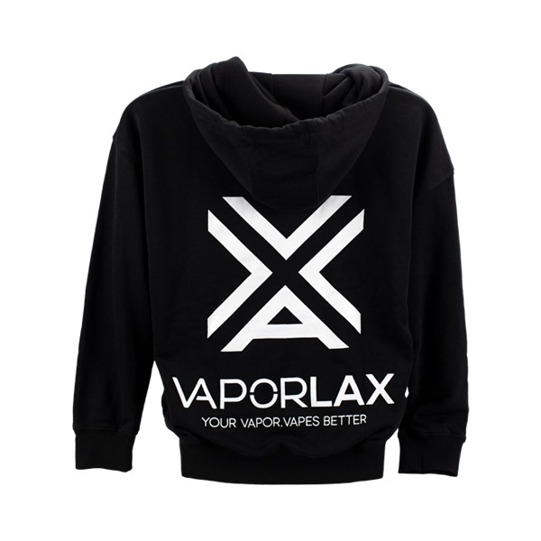 The VaporLax hoodie, made from black organic cotton for wholesale ordering