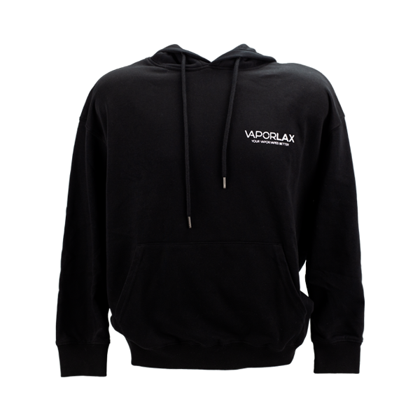A black cotton sweatshirt, screen-printed with the VaporLax logo