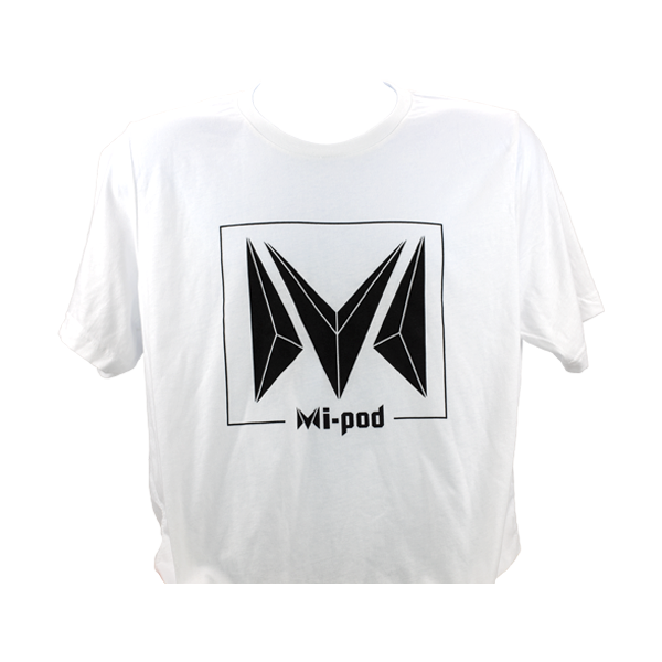 A white Mi-Pod T-shirt, made with 100% cotton and an Mipod logo