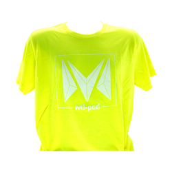 A yellow Mi-Pod T-shirt, made with 100% cotton and an Mipod logo