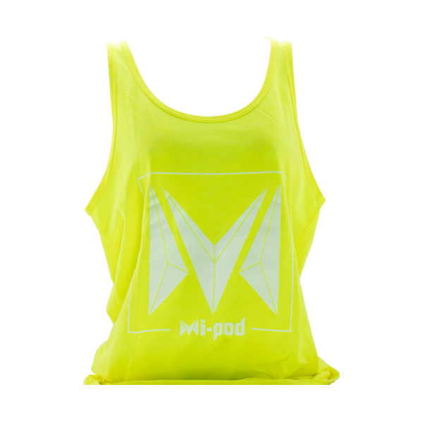 A yellow Mi-Pod tank top, made with 100% cotton and an Mipod logo