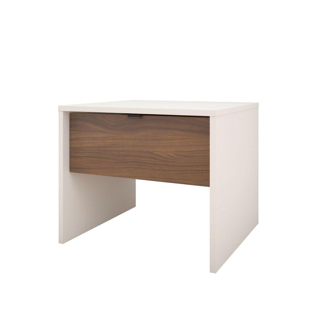 Jonathan Nightstand 1-Drawer White and Walnut