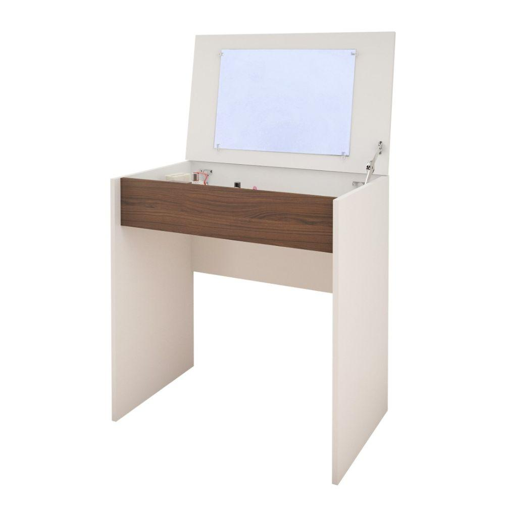 Cody Vanity with mirror / Writing Desk White and Walnut