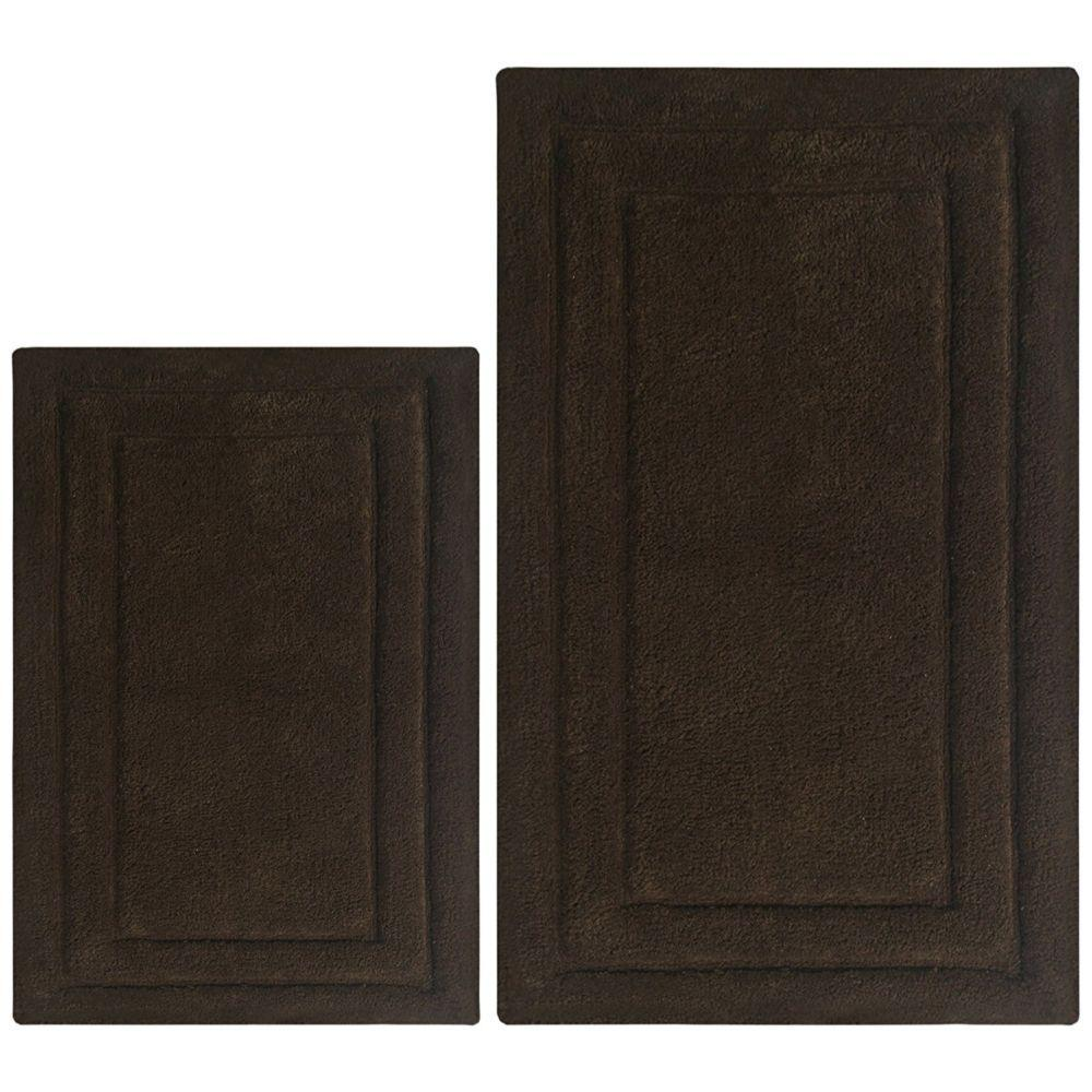 Tristen Classic 2 Pc Bath Rug Set - Dark Brown