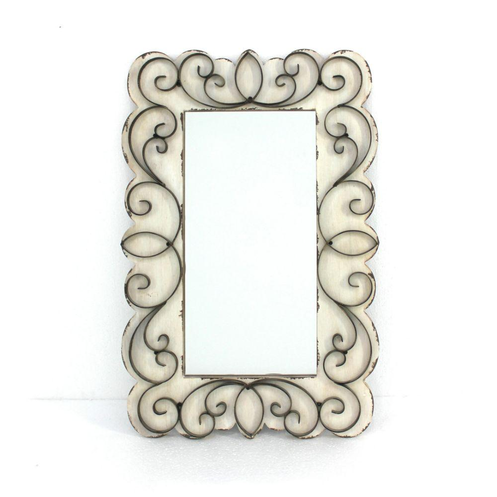 "Berniece White Vintage Decorative Wood & Metal Wall Mirror 1.25"" X 32.75"" X 21.75"""