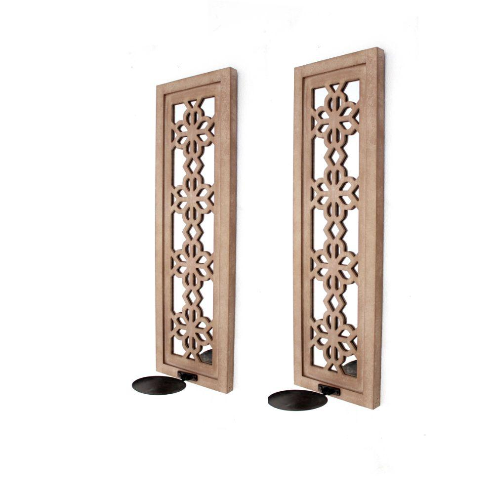 "Brianna Tan Rustic Candle Holder Sconce Set With Lattice Mirrors 27.5"" X 6"" X 8.75"""
