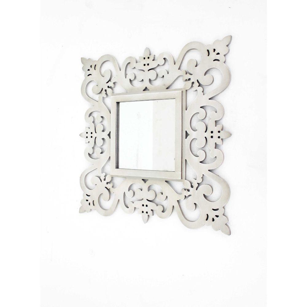 "Elijah White Traditional Floral Cosmetic Wall Mirror 23.75"" X 0.75"" X 23.75"""