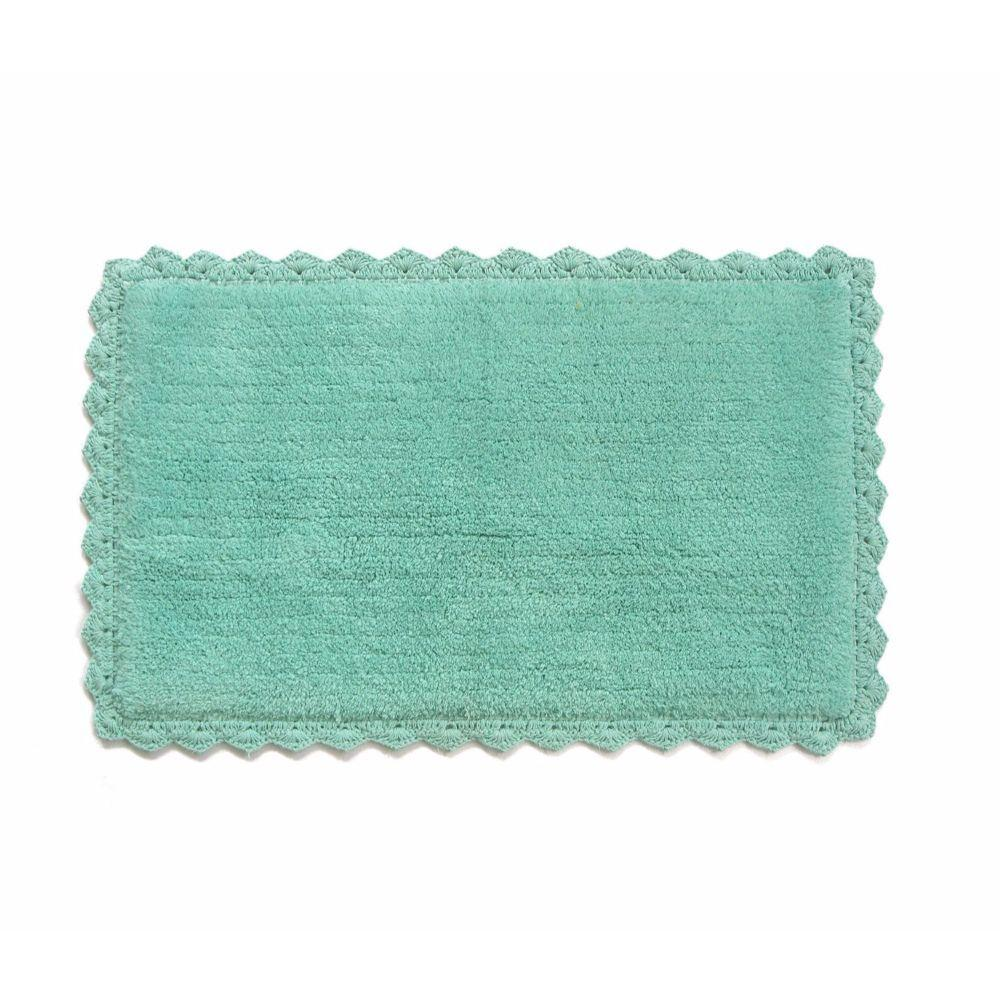 Jayda Aqua Blue Crochete Mat or Bath Rug