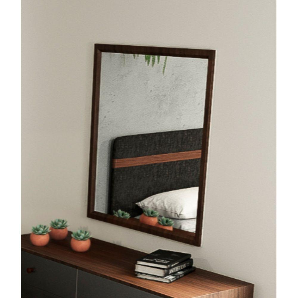 Aubree Walnut MDF, Veneer, and Glass Mirror 35""