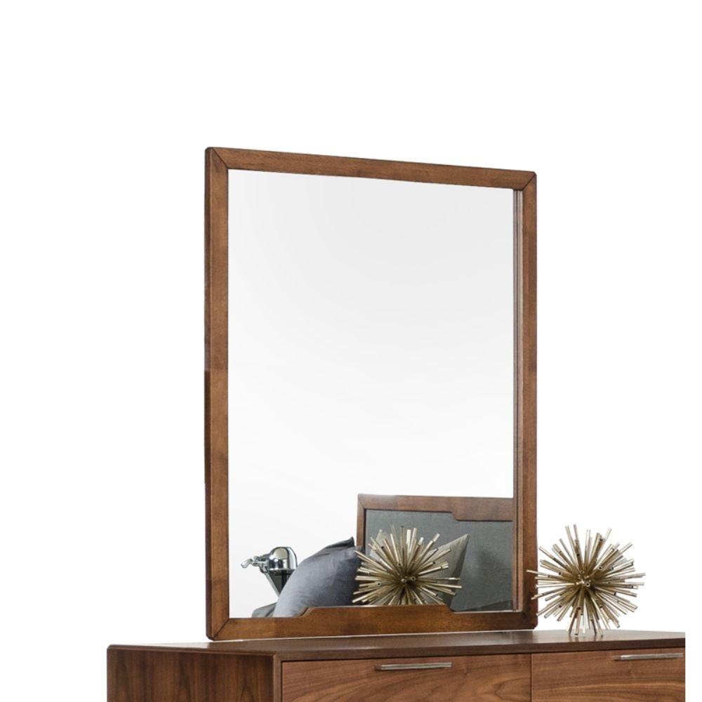 Sadie Walnut MDF, Veneer, and Glass Mirror 40""