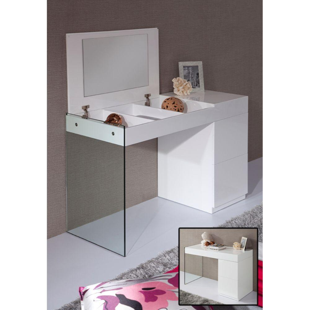 Aaliyah White Glass Floating Vanity with a Mirror 27""