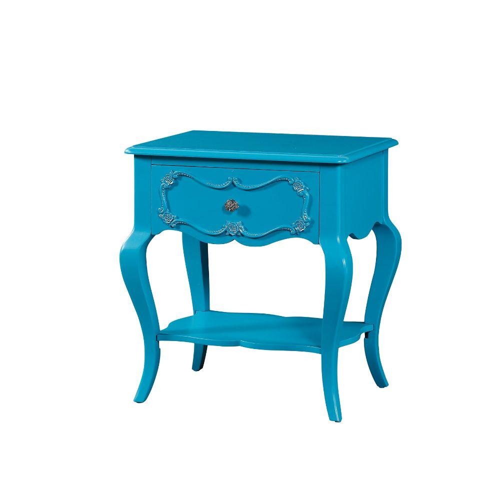 "Lillian Turquoise Pine Wood Nightstand 24"" X 17"" X 26"""