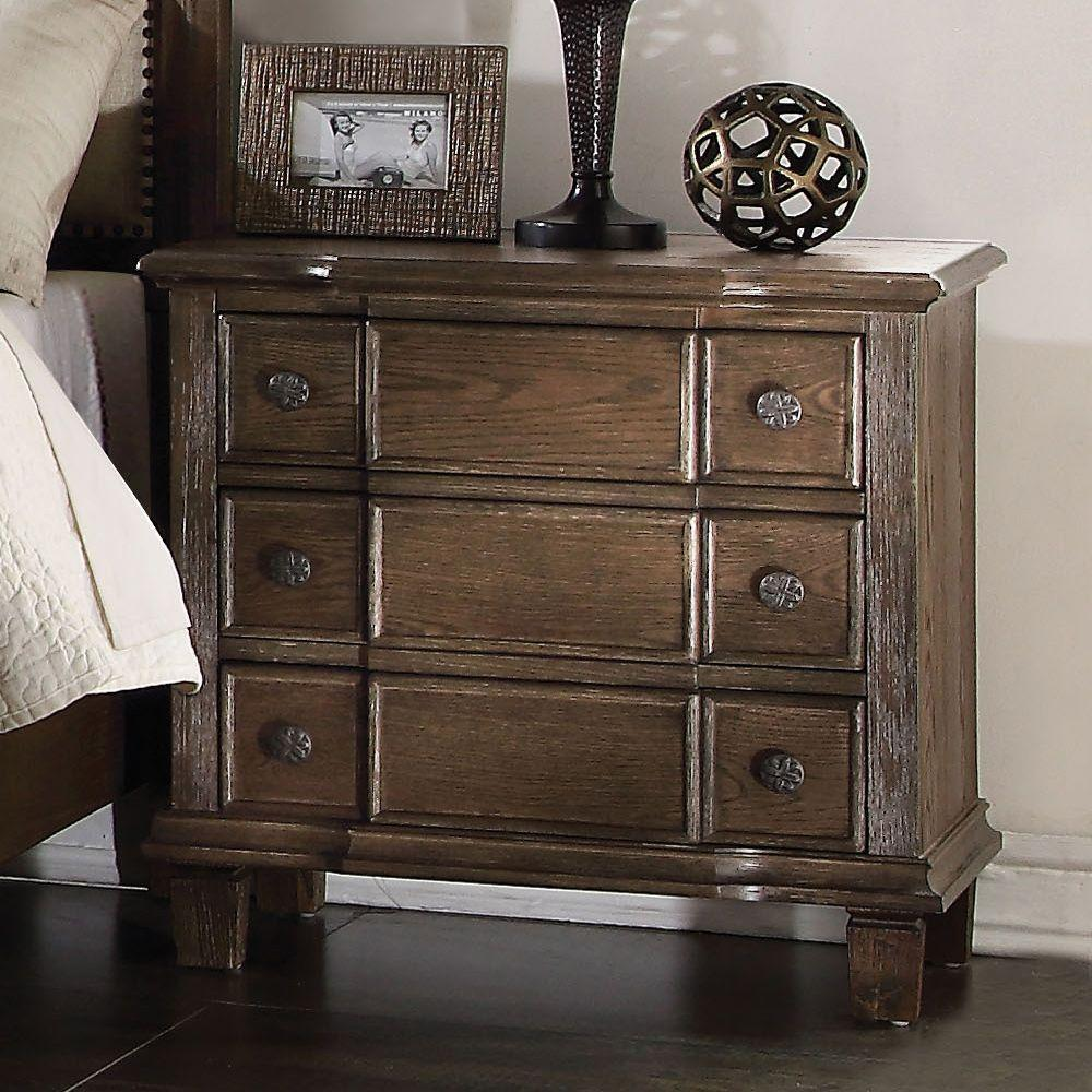 "Riley Weathered Oak Wooden Nightstand 27"" X 18"" X 26"""