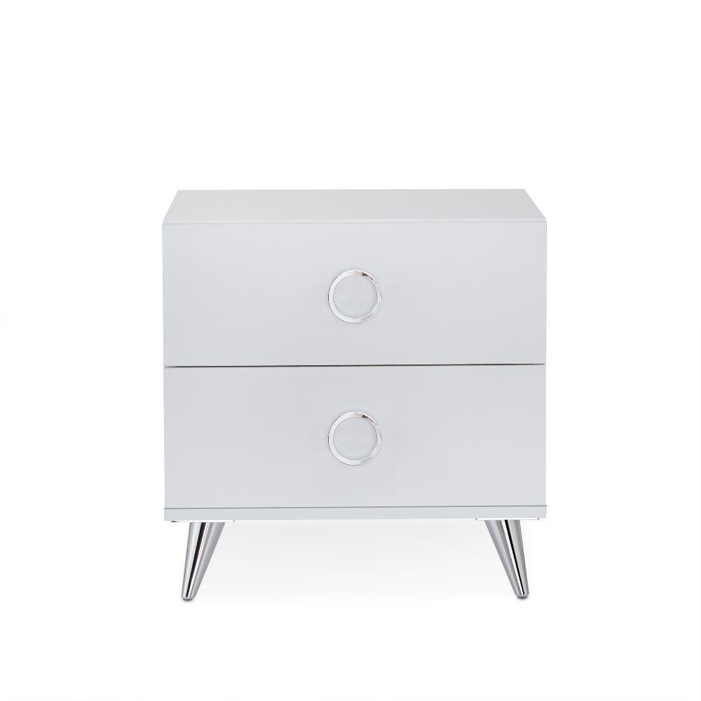 "Nyla White Particle Board Nightstand 19.69"" X 16.61"" X 19.76"""