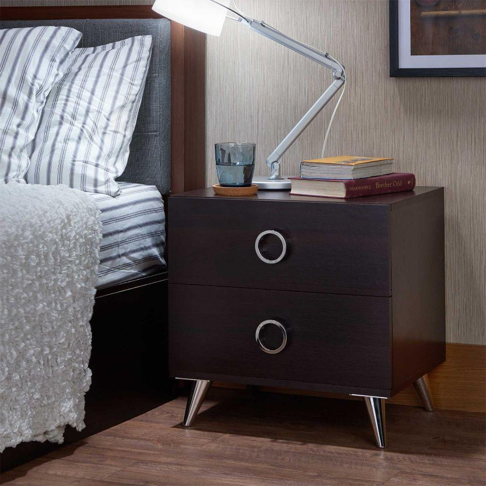 "Modesty Black Particle Board Nightstand 19.69"" X 16.61"" X 19.76"""