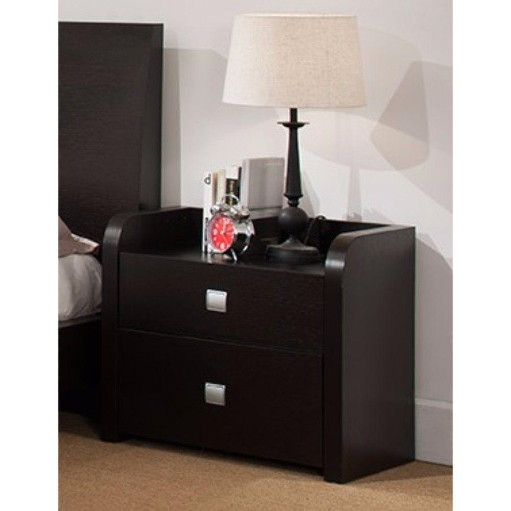 Adalynn Beautiful Nightstand With 2 Storage Drawers, Dark Brown.