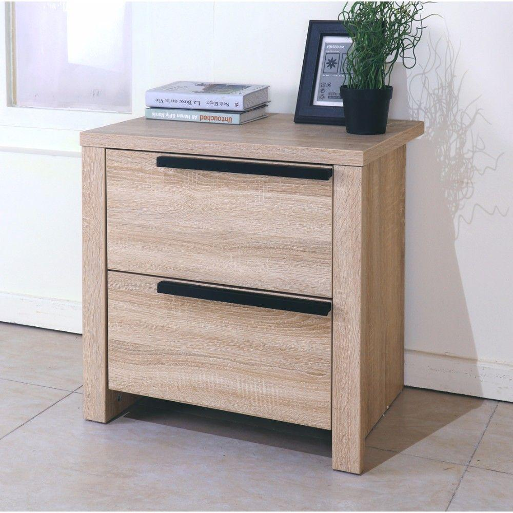 Estrella Elegant Brown Finish Nightstand With 2 Drawers On Metal Glides