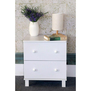 Lilyanna White Finish Nightstand With 2 Drawers On Metal Glides.