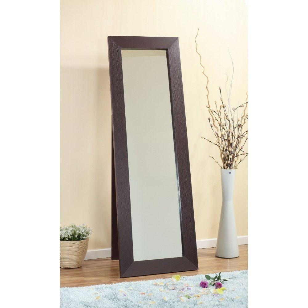 Rose Aesthetic Accent Mirror With Wooden Framing, Dark Brown