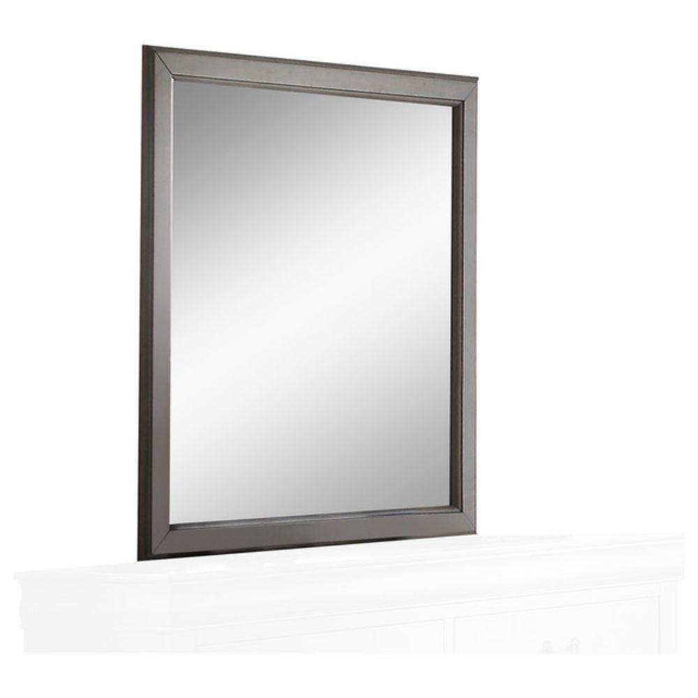 Ally Sassy Wooden Square Mirror, Gray