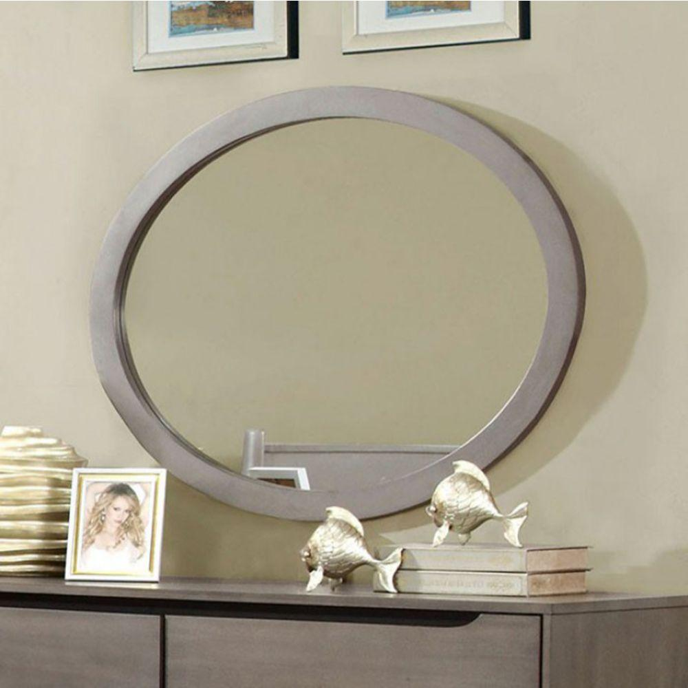Beau Chic Wooden Oval Mirror, Gray