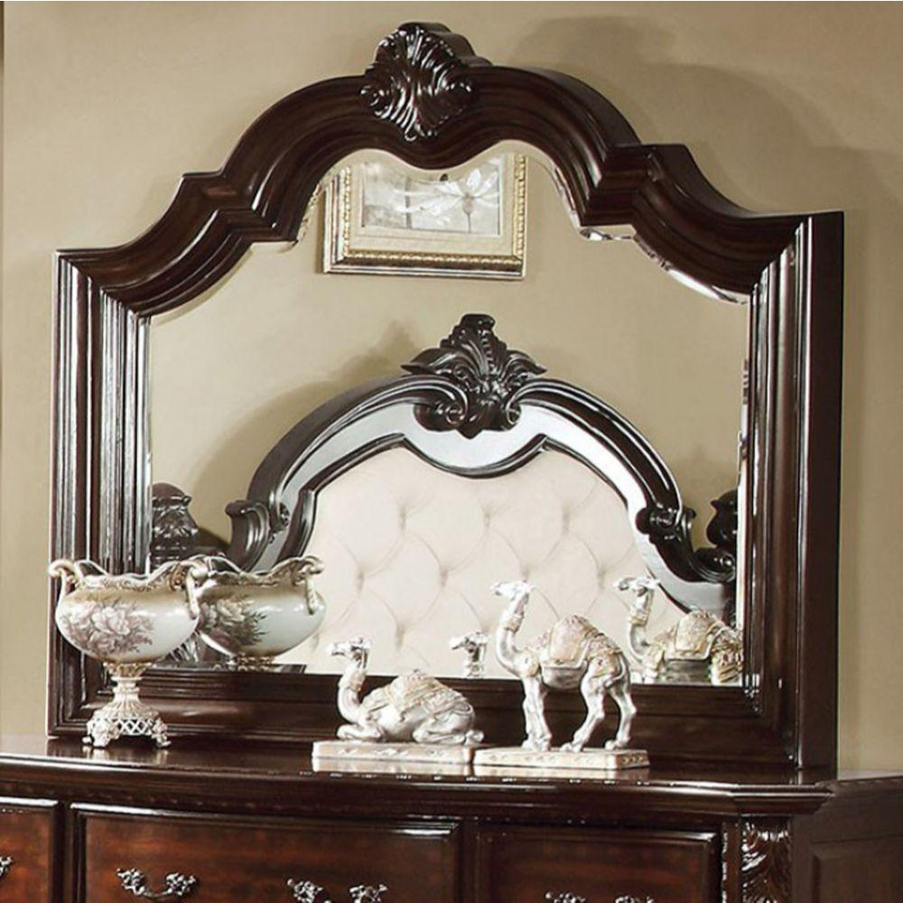 Madeleine Baroque Style Mirror In Brown Cherry Finish