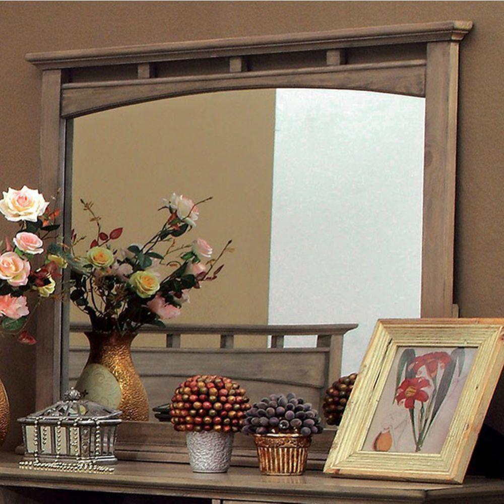 Abdiel Transitional Style Mirror In Weathered Oak Finish