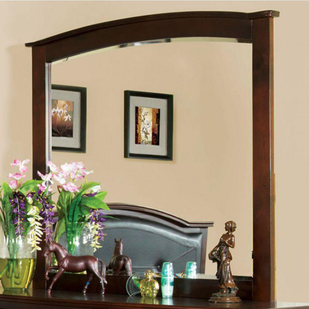 Brylee Crest View Contemporary Style Mirror In Brown Cherry Finish