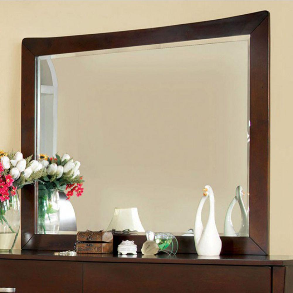 Kyra Contemporary Style Mirror, Brown Cherry