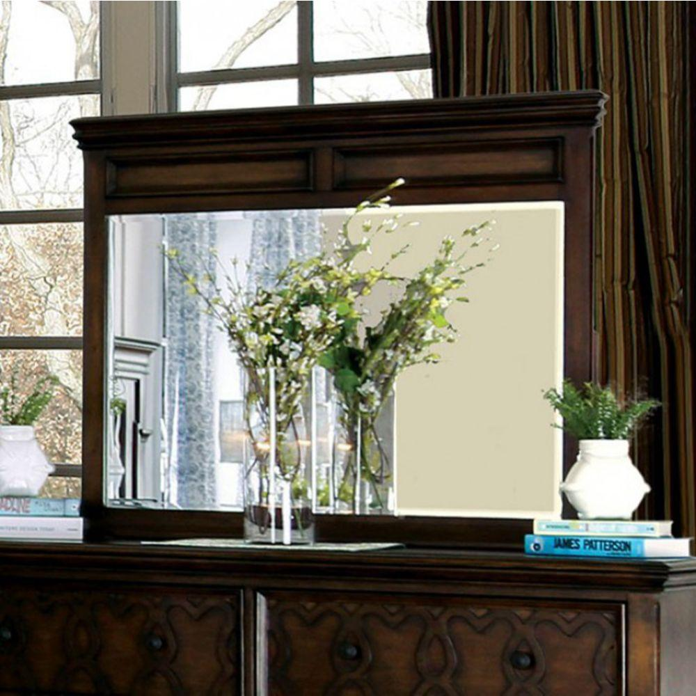 Alfonso Transitional Style Mirror , Walnut