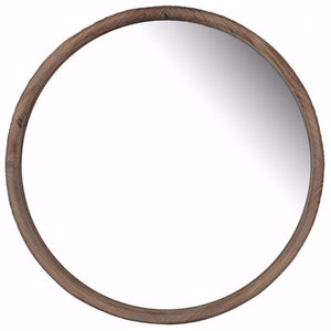 Mike Wooden Round Wall Mirror