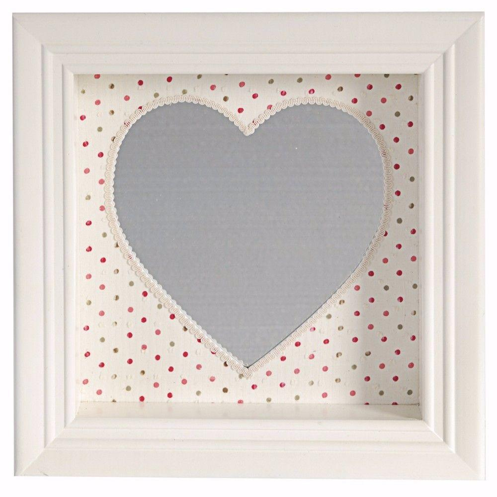 Selena Beautiful and Pretty Heart Shaped Wall Mirror, White