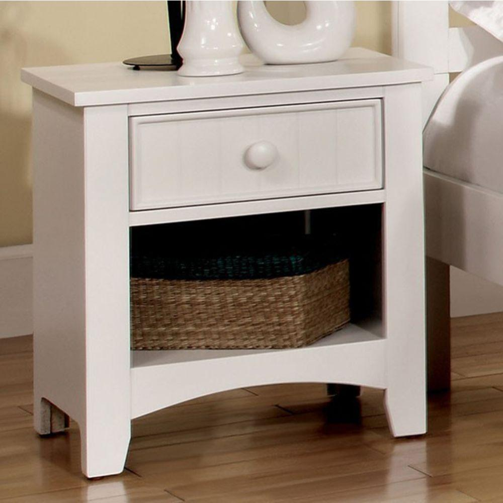 Bruno Wood Night Stand, White Finish