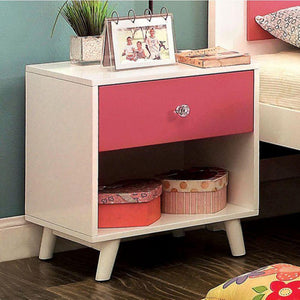 Toby Transitional Night Stand, Pink and White