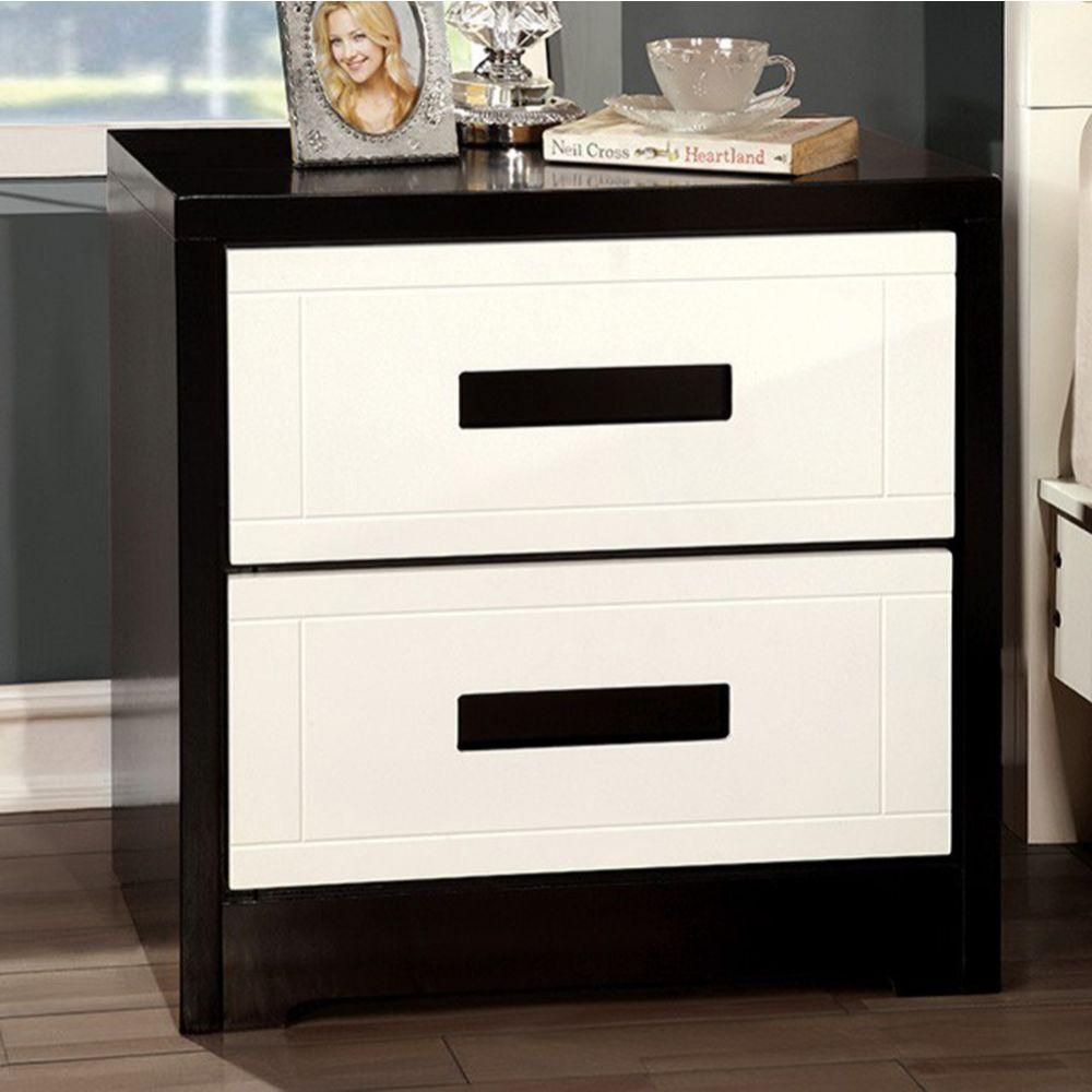 Julissa Contemporary Style Nightstand, White & Black