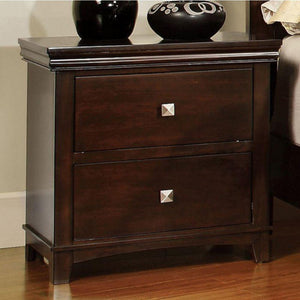 Matthias Transitional Nightstand, Brown Cherry Finish