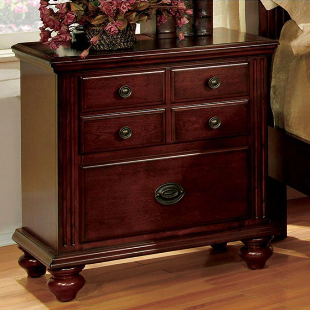 Hayes Transitional Nightstand, Cherry Finish