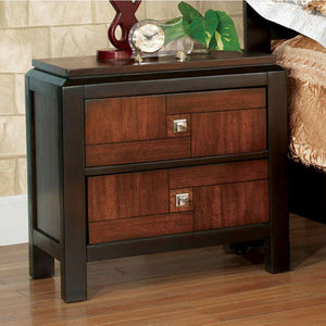 Rogelio Transitional Nightstand, Acacia & Walnut