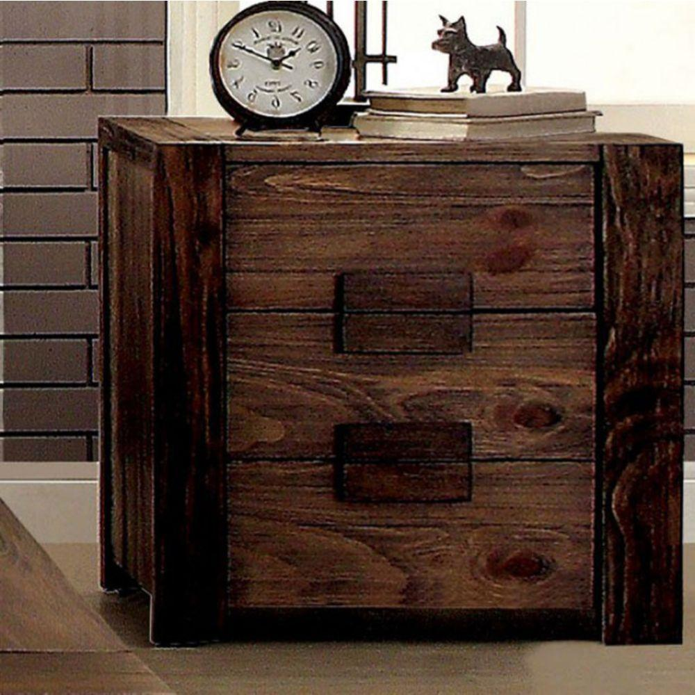 Landry Transitional Nightstand, Rustic Natural Tone