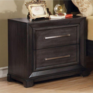 Brogan Transitional Nightstand, Dark Gray Finish