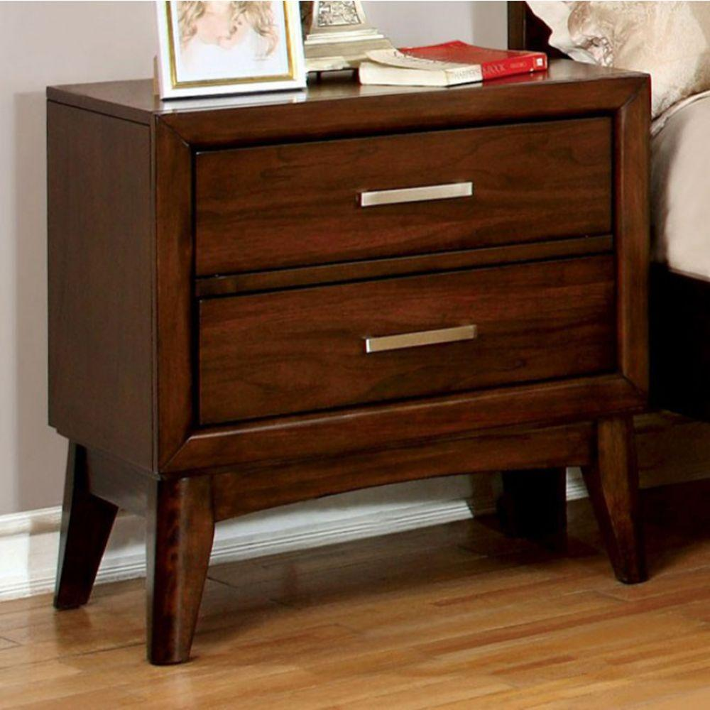 Brent Transitional Nightstand, Brown Cherry Finish