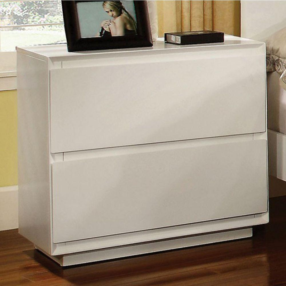 Scarlet Contemporary Nightstand, White Finish