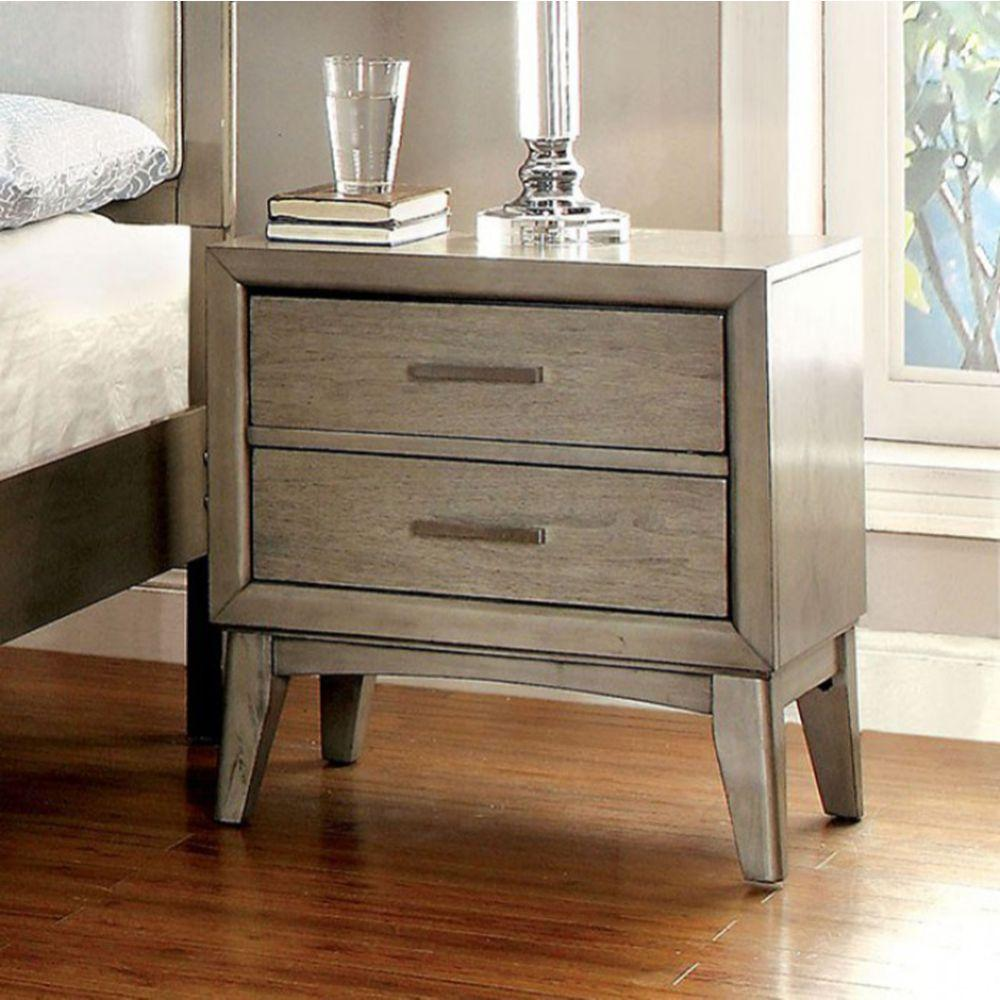Matteo Contemporary Night Stand In Gray