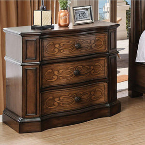 Millie Transitional Style Wooden Night Stand, Brown