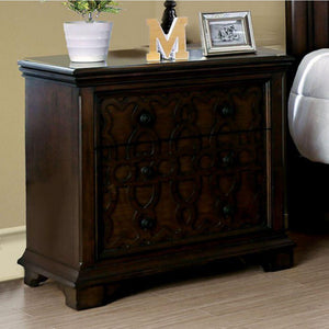 Davian Transitional Night Stand, Walnut Finish