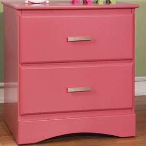 Haylie Transitional Style Night Stand, Pink