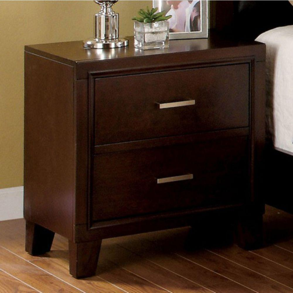 Julie Contemporary Style Nightstand, Brown Cherry