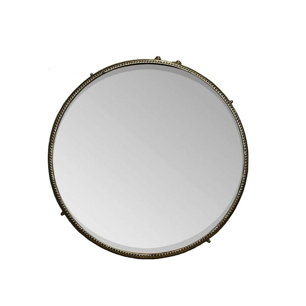 Olive Decorative Iron Framed Round Mirror, Bronze