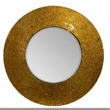 Jazmine Adorning Round Mosaic Patterned Mirror, Gold